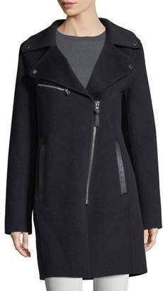 Derek Lam 10 Crosby Notched-Collar Zip-Front Wool-Blend Coat