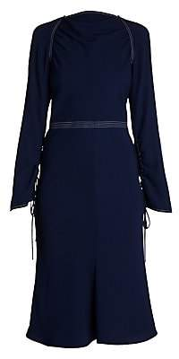 Marni Women's Envers Crepe Long-Sleeve Flared Dress