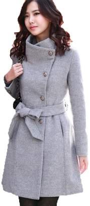 EkarLam® Women's Winter Slim Woolen Jacket Outerwear Fur Wind Parka Overcoat