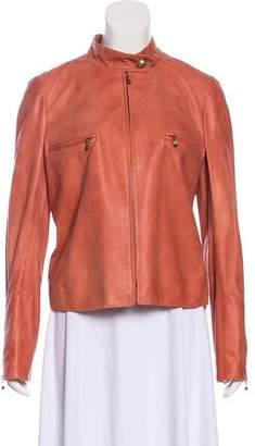 Chanel Leather Zip-Up Jacket