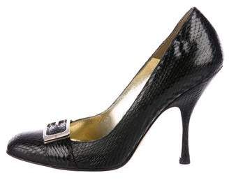 Gucci Embossed Leather High-Heel Pumps