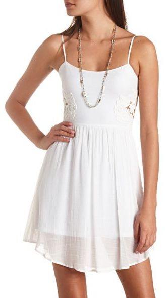 Charlotte Russe Cut-Out Crocheted Lace Applique Dress