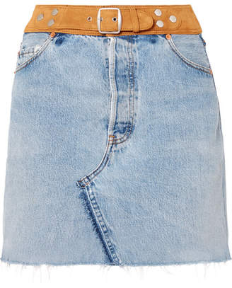 RE/DONE Belted Denim And Suede Mini Skirt - Mid denim
