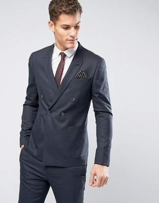 Asos WEDDING Skinny Double Breasted Suit Jacket in Indigo Micro Texture