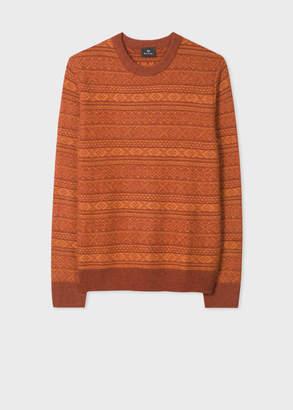 Paul Smith Men's Orange Fair Isle Wool-Blend Sweater
