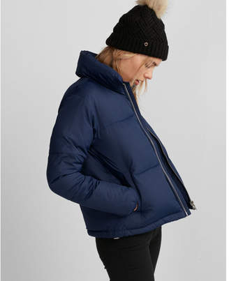 Express zip front short puffer coat