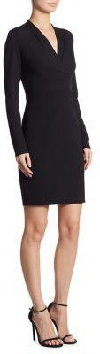Elie Tahari Mock Wrap Long Sleeved Dress $298 thestylecure.com