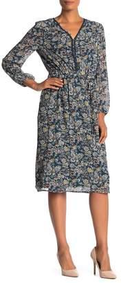 Daniel Rainn DR2 by V-Neck Long Sleeve Print Dress