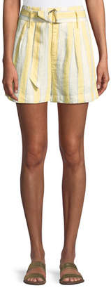 Frame Striped Belted Linen Shorts