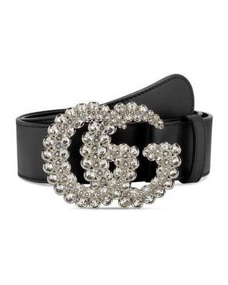 Gucci Leather Belt w/ Double G Crystal Buckle