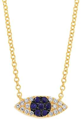 Ron Hami 14K Yellow Gold Diamond & Sapphire Evil Eye Pendant Necklace