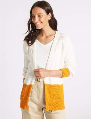 Marks and Spencer Cotton Rich Colour Block Longline Cardigan