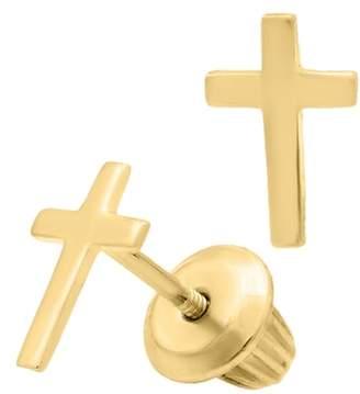 Mignonette 14k Gold Cross Stud Earrings