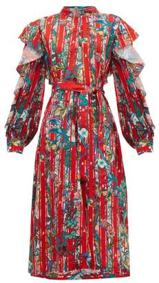 Golden Goose Chieko Ruffled Floral Print Crepe De Chine Dress - Womens - Red Multi