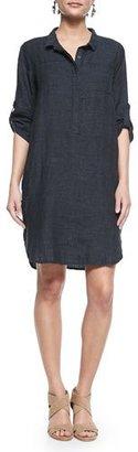 Eileen Fisher 3/4-Sleeve Organic Linen Henley Dress, Denim $278 thestylecure.com