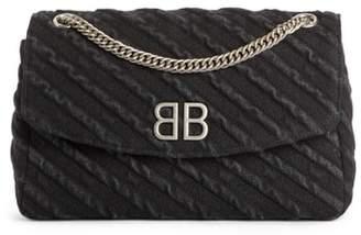 Balenciaga Medium BB Round Destroyed Denim Shoulder Bag