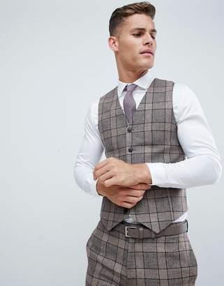 Asos DESIGN wedding skinny suit vest in camel check