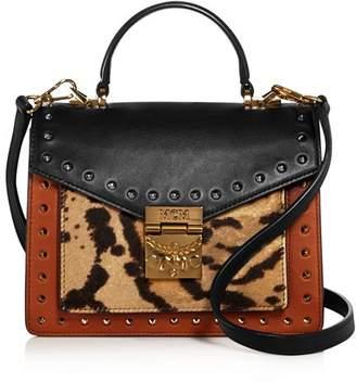MCM Patricia Small Leather & Leopard Print Calf Hair Satchel