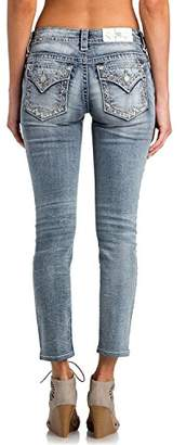 Miss Me Junior's Mid-Rise Stretch Ankle Skinny Jeans with Faux Flap Pockets