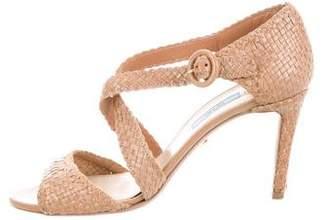 Prada Woven Ankle Strap Sandals