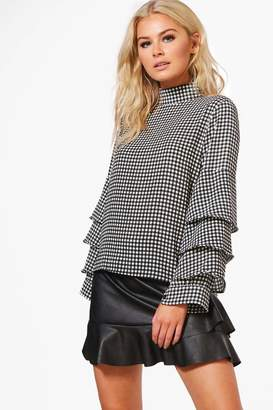 boohoo Anna Gingham Ruffle Tailored Blouse