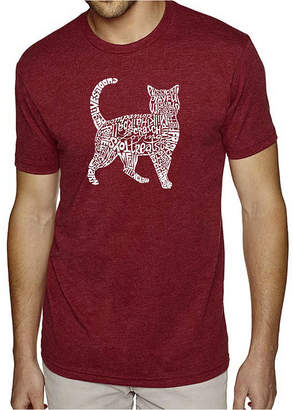 Blend of America LOS ANGELES POP ART Los Angeles Pop Art Men's Big & Tall Premium Word Art T-Shirt - Cat