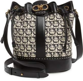 bd3cd5fdf2 Salvatore Ferragamo Leather   Jacquard Bucket Bag