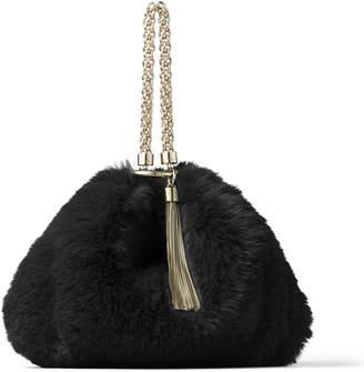 Jimmy Choo CALLIE Black Faux Fur Clutch Bag