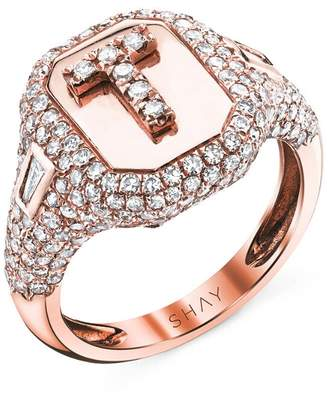 Shay Partial Pave Initial Pinky Ring - Rose Gold
