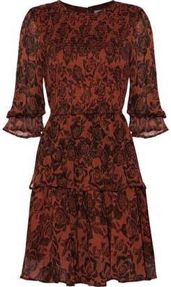 Ganni Shirred Floral-Print Georgette Mini Dress