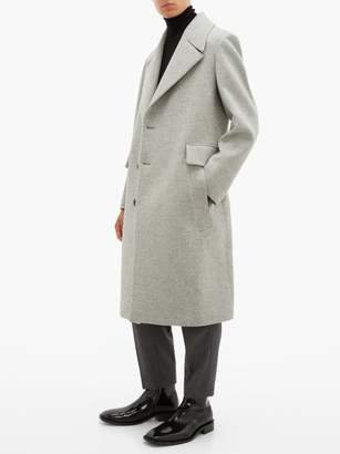 Wooyoungmi Single Breasted Wool Blend Overcoat - Mens - Light Grey