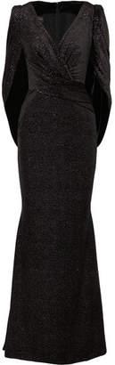 Talbot Runhof Roisin Cape-effect Glittered Velvet Gown - Black