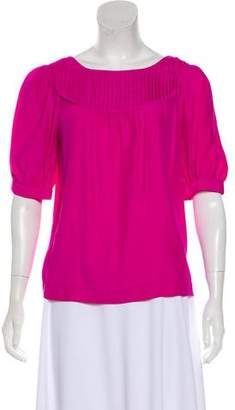 Loeffler Randall Silk Short Sleeve Top