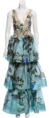 Marchesa Floral Print Silk Gown