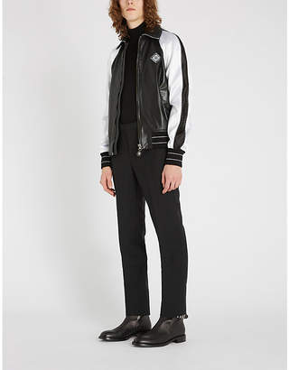 Givenchy Pointed-collar striped-trim leather jacket
