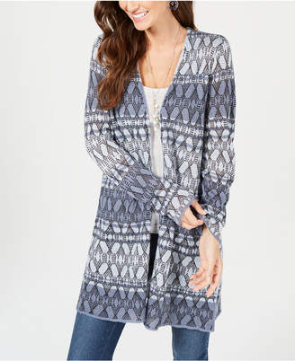 Style&Co. Style & Co Printed Long Cardigan Sweater