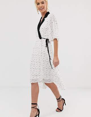 UNIQUE21 mixed heart print tailored wrap dress