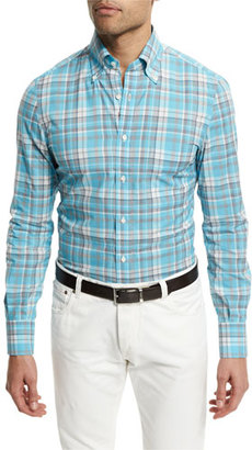 Isaia Madras Plaid Long-Sleeve Sport Shirt, Turquoise $495 thestylecure.com