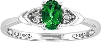 FINE JEWELRY Oval Genuine Emerald and Diamond-Accent 14K White Gold Ring