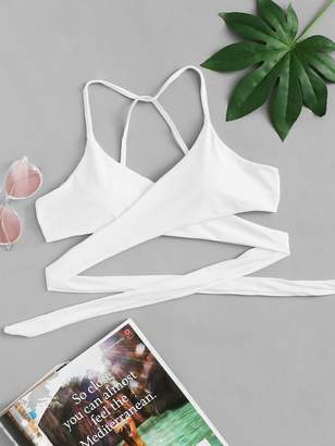 Shein Criss Cross Wrap Bikini Top