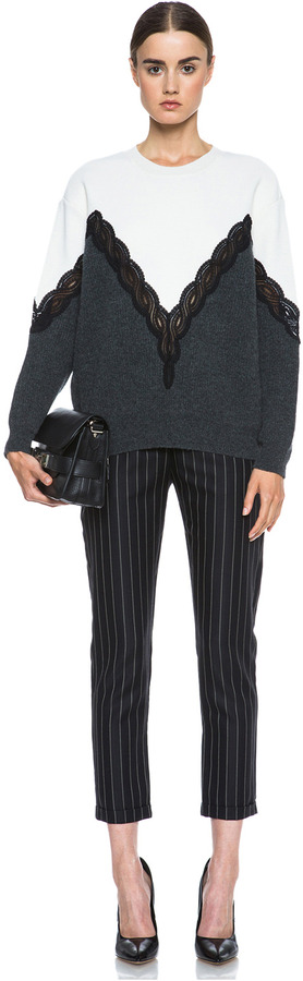 Stella McCartney Lace Wool Sweater in Cream & Charcoal & Black