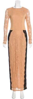 Alessandra Rich Lace Long Sleeve Gown