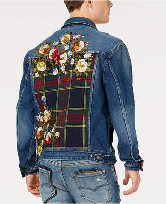 GUESS Men Oversized Embroidered Denim Jacket
