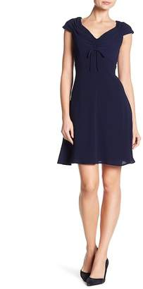 London Times Solid Catalina Crepe Fit and Flare Dress