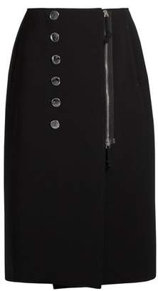 Altuzarra Sorrel Button Embellished Cady Pencil Skirt - Womens - Black