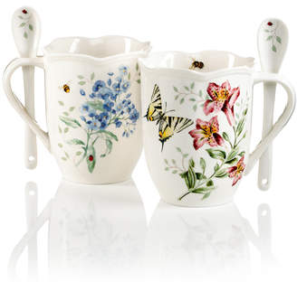 Lenox Dinnerware, Set of 2 Butterfly Meadow Cocoa Mugs with Spoons