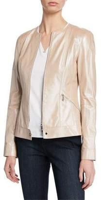 Lafayette 148 New York Mick Zip-Front Pearlized Nappa Lambskin Leather Jacket