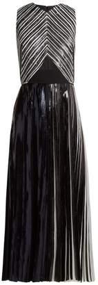 Proenza Schouler - Pleated Foil Cloqué Dress - Womens - Black Silver