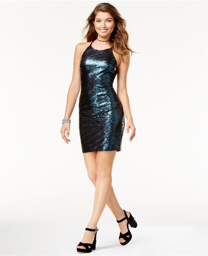 B. Darlin Juniors' Sequined Racerback Bodycon Dress