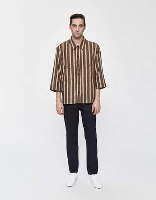 00a027f9 Lemaire Military 3/4 Sleeve Button Up Shirt